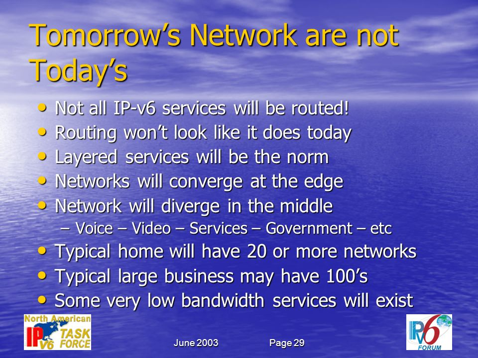 June 2003Page 29 Tomorrows Network are not Todays Not all IP-v6 services will be routed.
