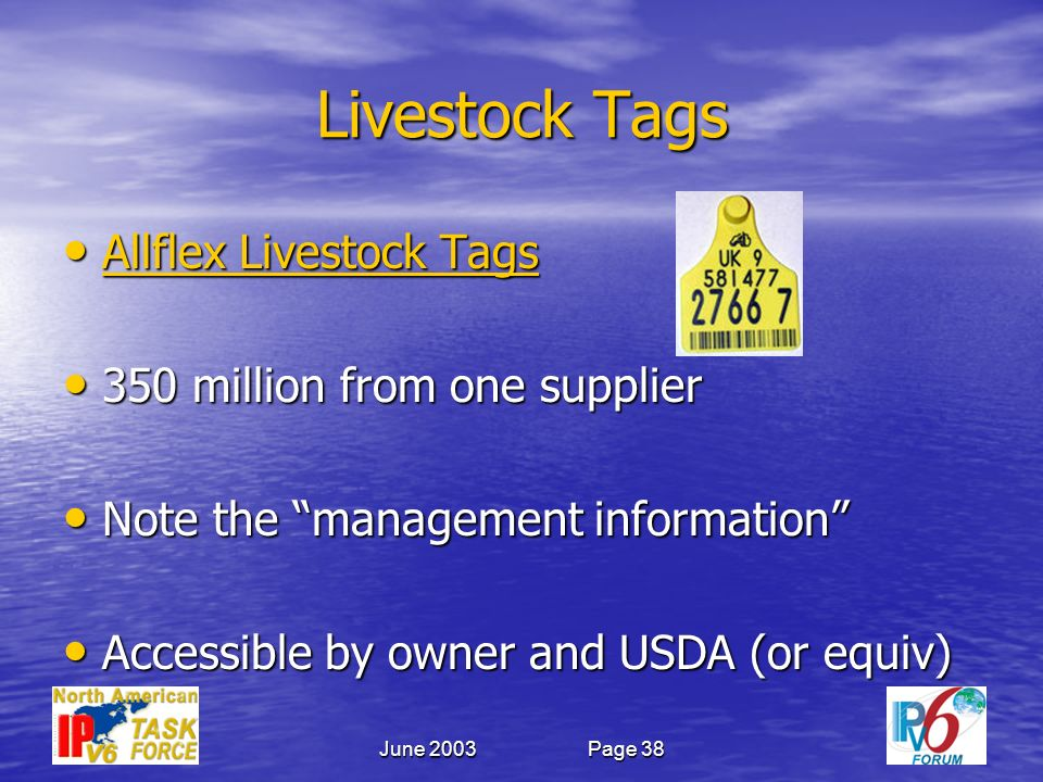 June 2003Page 38 Livestock Tags Allflex Livestock Tags Allflex Livestock Tags Allflex Livestock Tags Allflex Livestock Tags 350 million from one supplier 350 million from one supplier Note the management information Note the management information Accessible by owner and USDA (or equiv) Accessible by owner and USDA (or equiv)