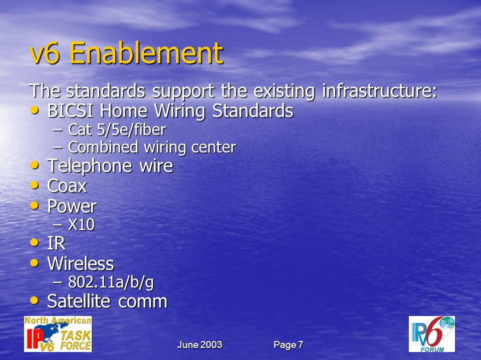 June 2003Page 7 v6 Enablement The standards support the existing infrastructure: BICSI Home Wiring Standards BICSI Home Wiring Standards –Cat 5/5e/fiber –Combined wiring center Telephone wire Telephone wire Coax Coax Power Power –X10 IR IR Wireless Wireless –802.11a/b/g Satellite comm Satellite comm