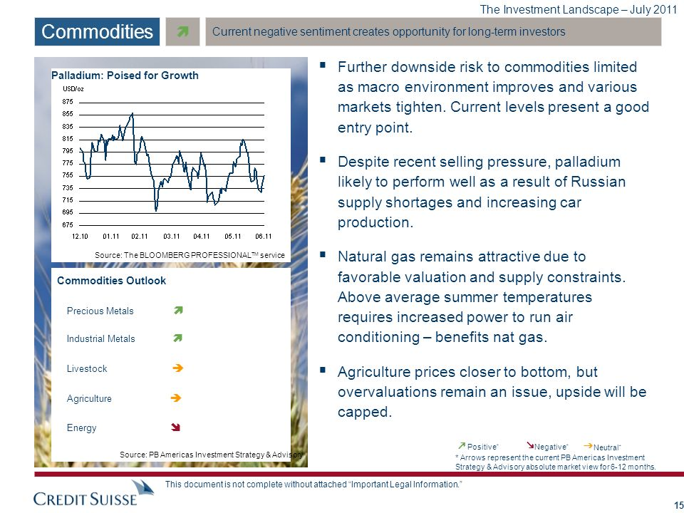 The Investment Landscape – July 2011 This document is not complete without attached Important Legal Information. Further downside risk to commodities