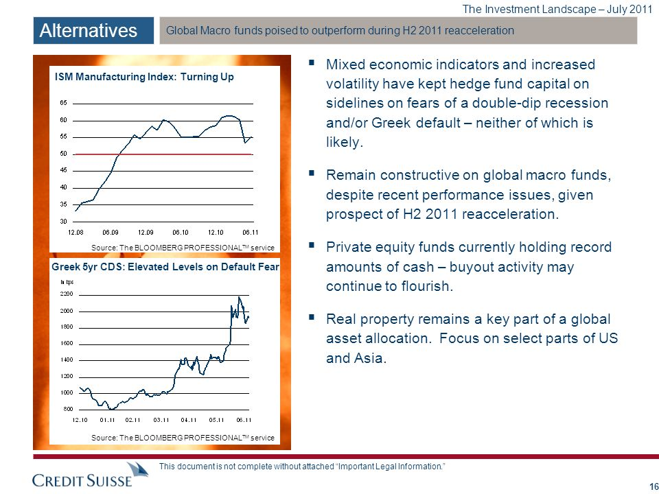 The Investment Landscape – July 2011 This document is not complete without attached Important Legal Information. Global Macro funds poised to outperfo