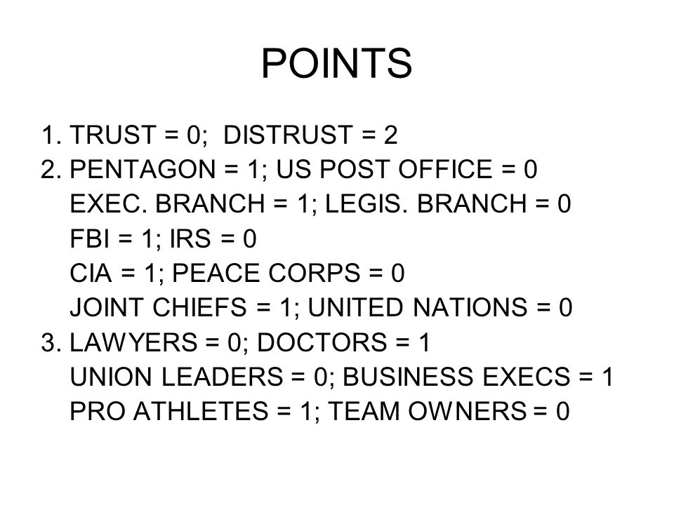 POINTS 1. TRUST = 0; DISTRUST = 2 2. PENTAGON = 1; US POST OFFICE = 0 EXEC. BRANCH = 1; LEGIS. BRANCH = 0 FBI = 1; IRS = 0 CIA = 1; PEACE CORPS = 0 JO