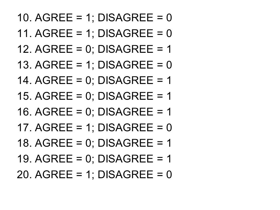 10. AGREE = 1; DISAGREE = 0 11. AGREE = 1; DISAGREE = 0 12. AGREE = 0; DISAGREE = 1 13. AGREE = 1; DISAGREE = 0 14. AGREE = 0; DISAGREE = 1 15. AGREE