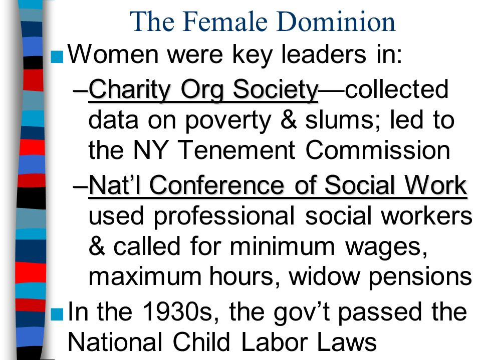 The Female Dominion Women were key leaders in: –Charity Org Society –Charity Org Societycollected data on poverty & slums; led to the NY Tenement Comm