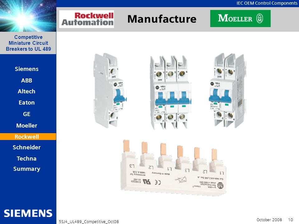 IEC OEM Control Components Competitive Miniature Circuit Breakers to UL 489 October 2008 10 5SJ4_UL489_Competitive_Oct08 Siemens ABB Eaton Altech GE M