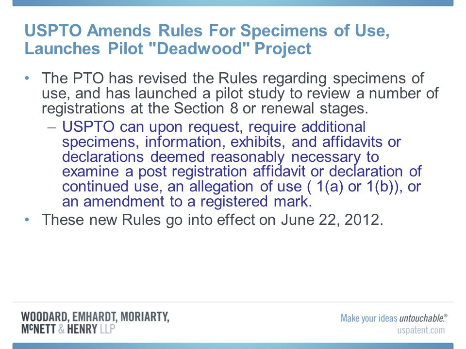 USPTO Amends Rules For Specimens of Use, Launches Pilot