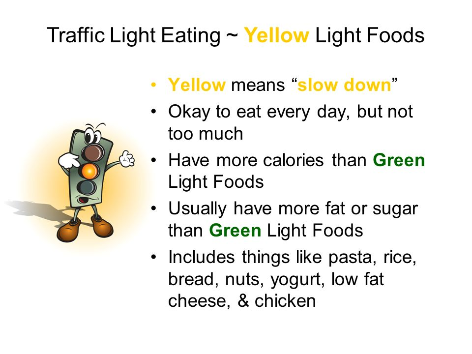 Yellow means slow down Okay to eat every day, but not too much Have more calories than Green Light Foods Usually have more fat or sugar than Green Lig
