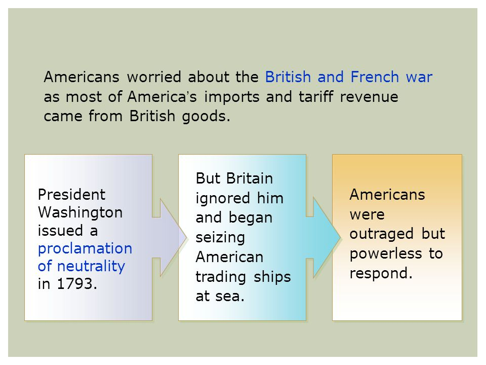Americans worried about the British and French war as most of Americas imports and tariff revenue came from British goods. But Britain ignored him and