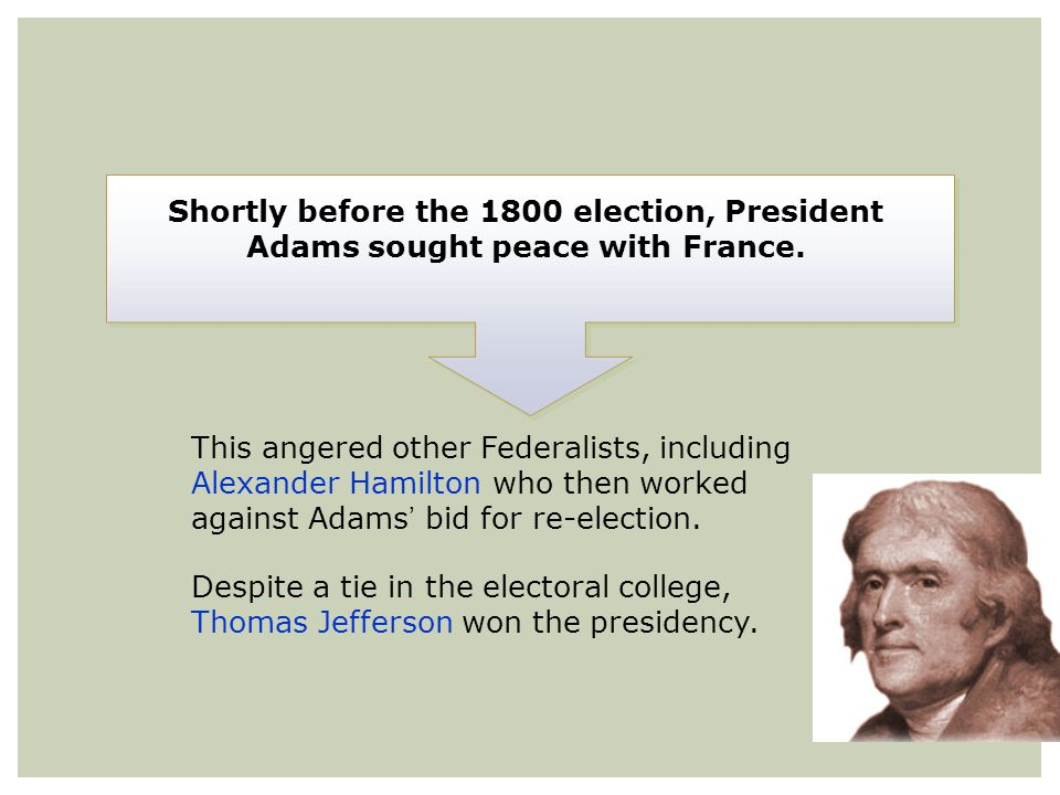 Shortly before the 1800 election, President Adams sought peace with France. This angered other Federalists, including Alexander Hamilton who then work