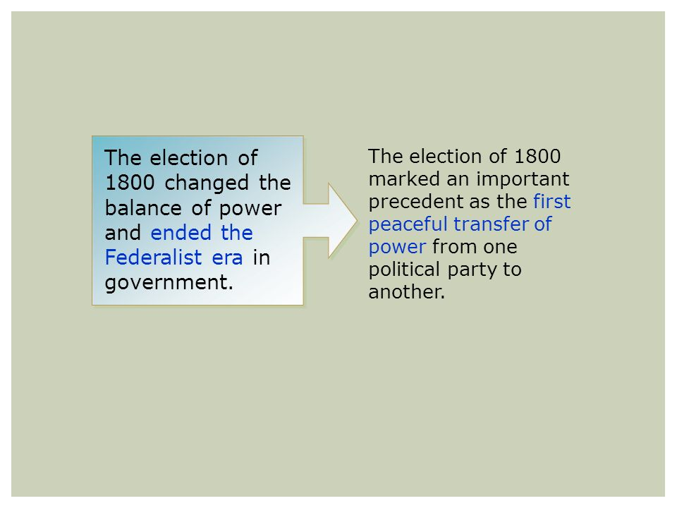 The election of 1800 marked an important precedent as the first peaceful transfer of power from one political party to another. The election of 1800 c