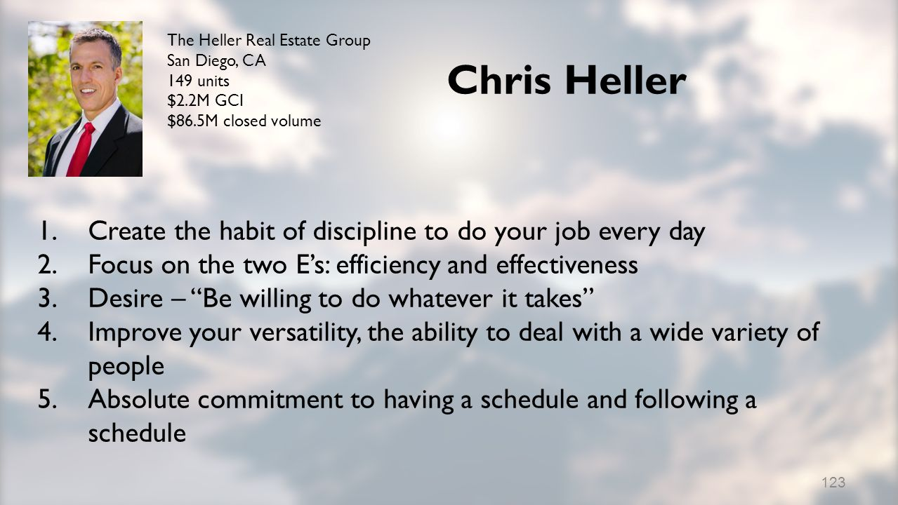 Chris Heller 1.Create the habit of discipline to do your job every day 2.Focus on the two Es: efficiency and effectiveness 3.Desire – Be willing to do whatever it takes 4.Improve your versatility, the ability to deal with a wide variety of people 5.Absolute commitment to having a schedule and following a schedule The Heller Real Estate Group San Diego, CA 149 units $2.2M GCI $86.5M closed volume 123