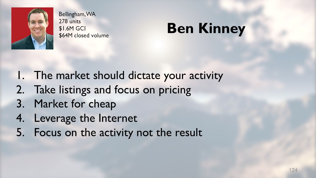 Ben Kinney 1.The market should dictate your activity 2.Take listings and focus on pricing 3.Market for cheap 4.Leverage the Internet 5.Focus on the activity not the result Bellingham, WA 278 units $1.6M GCI $64M closed volume 124