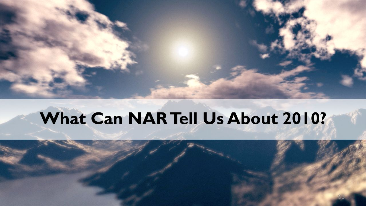 What Can NAR Tell Us About 2010 83