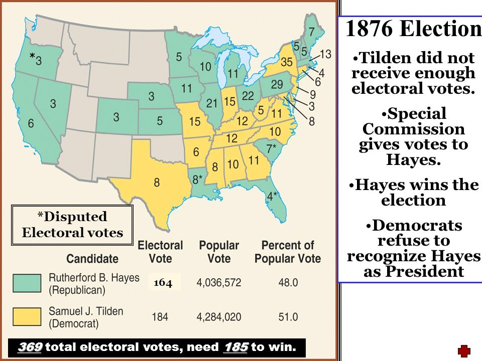 The election of 1876 and the Compromise of 1877 are referred to as the Corrupt Bargain. Three southern states withhold their electoral votes until Hay