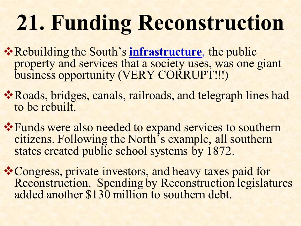 New South 20. New South Becomes industrialized Cities rebuilt Railroads Schools, over a thousand Hospitals, 45 in 14 states Diversify economy.