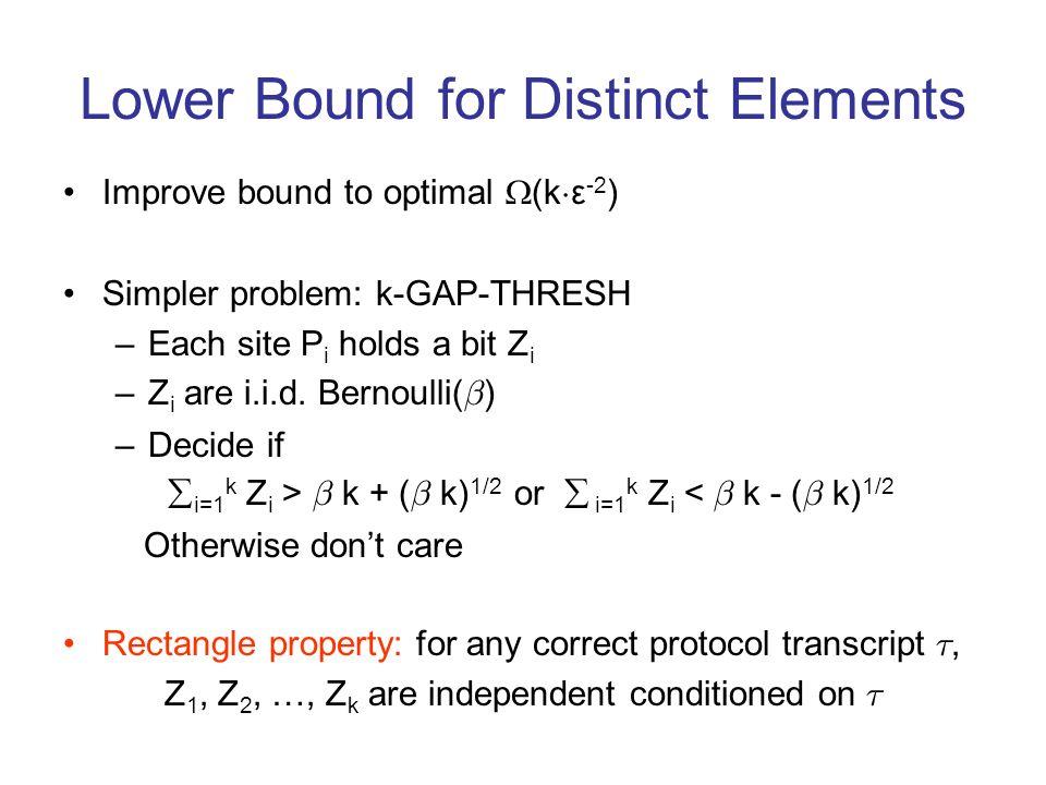 Lower Bound for Distinct Elements Improve bound to optimal (k ¢ ε -2 ) Simpler problem: k-GAP-THRESH –Each site P i holds a bit Z i –Z i are i.i.d. Be