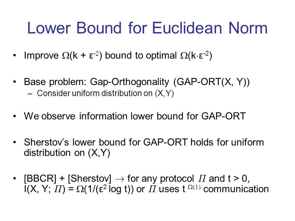 Lower Bound for Euclidean Norm Improve (k + ε - ) bound to optimal (k ¢ ε -2 ) Base problem: Gap-Orthogonality (GAP-ORT(X, Y)) –Consider uniform distr
