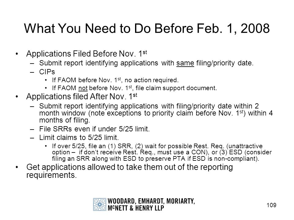 109 What You Need to Do Before Feb. 1, 2008 Applications Filed Before Nov. 1 st –Submit report identifying applications with same filing/priority date