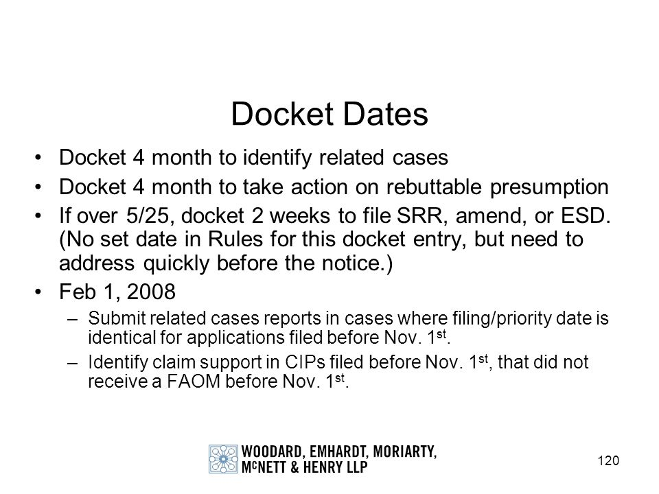 120 Docket Dates Docket 4 month to identify related cases Docket 4 month to take action on rebuttable presumption If over 5/25, docket 2 weeks to file