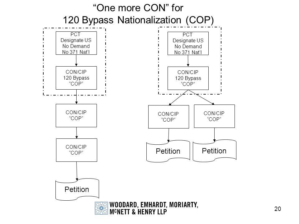 20 PCT Designate US No Demand No 371 Natl CON/CIP 120 Bypass COP CON/CIP COP Petition CON/CIP COP PCT Designate US No Demand No 371 Natl CON/CIP 120 B