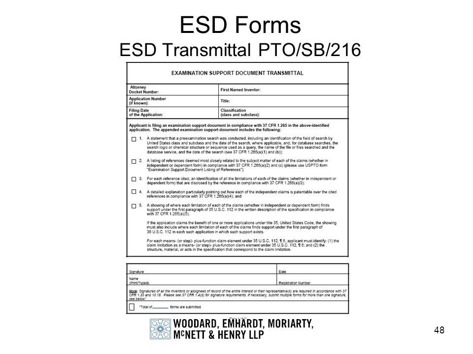 48 ESD Forms ESD Transmittal PTO/SB/216