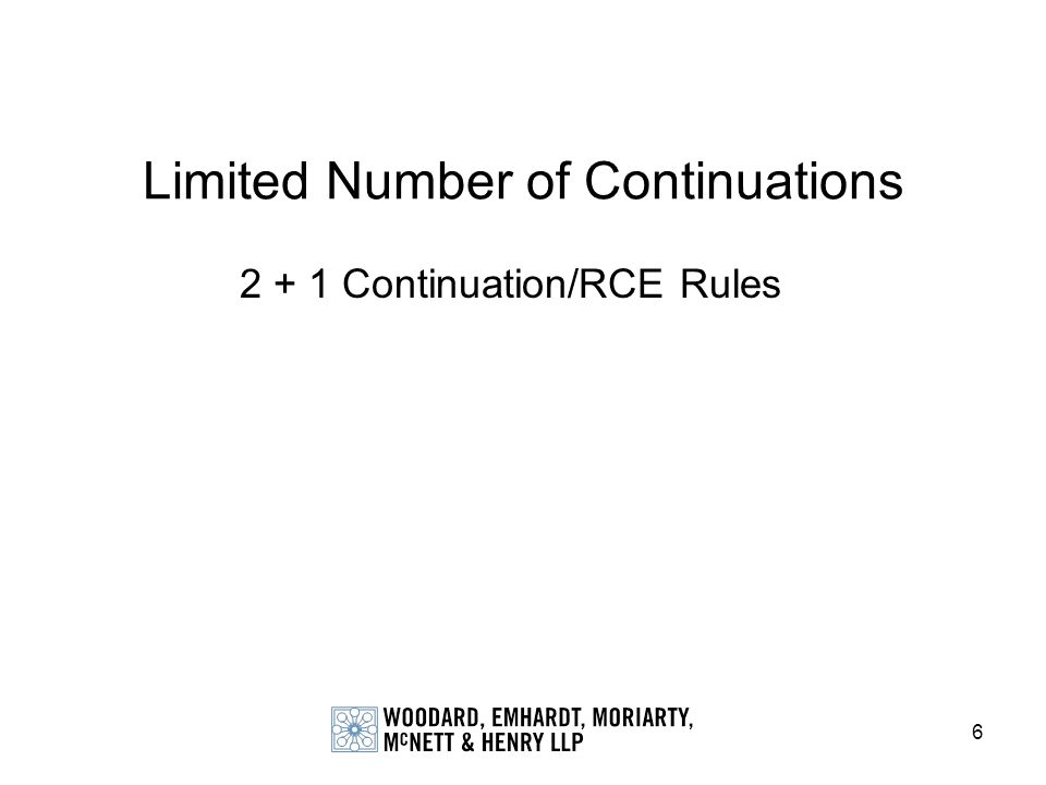 6 Limited Number of Continuations 2 + 1 Continuation/RCE Rules