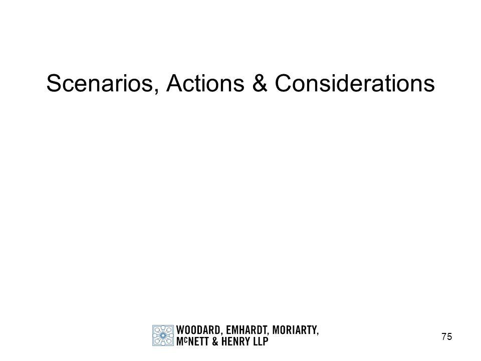 75 Scenarios, Actions & Considerations