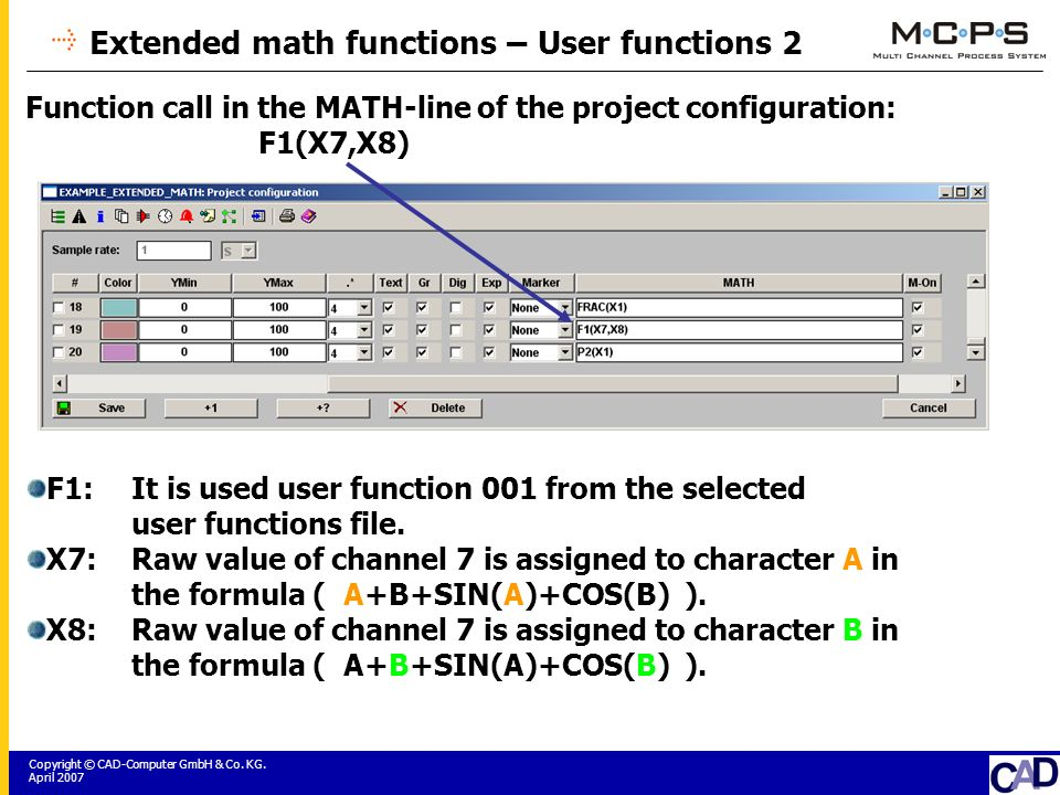 Copyright © CAD-Computer GmbH & Co. KG. April 2007 Extended math functions – User functions 2 Function call in the MATH-line of the project configurat