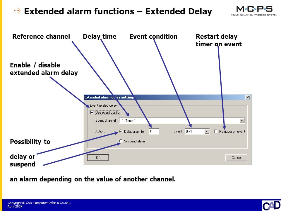 Copyright © CAD-Computer GmbH & Co. KG. April 2007 Extended alarm functions – Extended Delay Possibility to delay or suspend an alarm depending on the