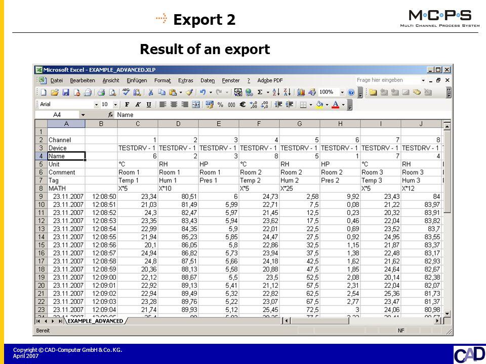 Copyright © CAD-Computer GmbH & Co. KG. April 2007 Export 2 Result of an export