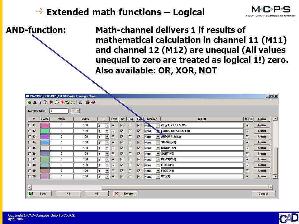 Copyright © CAD-Computer GmbH & Co. KG. April 2007 Extended math functions – Logical AND-function:Math-channel delivers 1 if results of mathematical c
