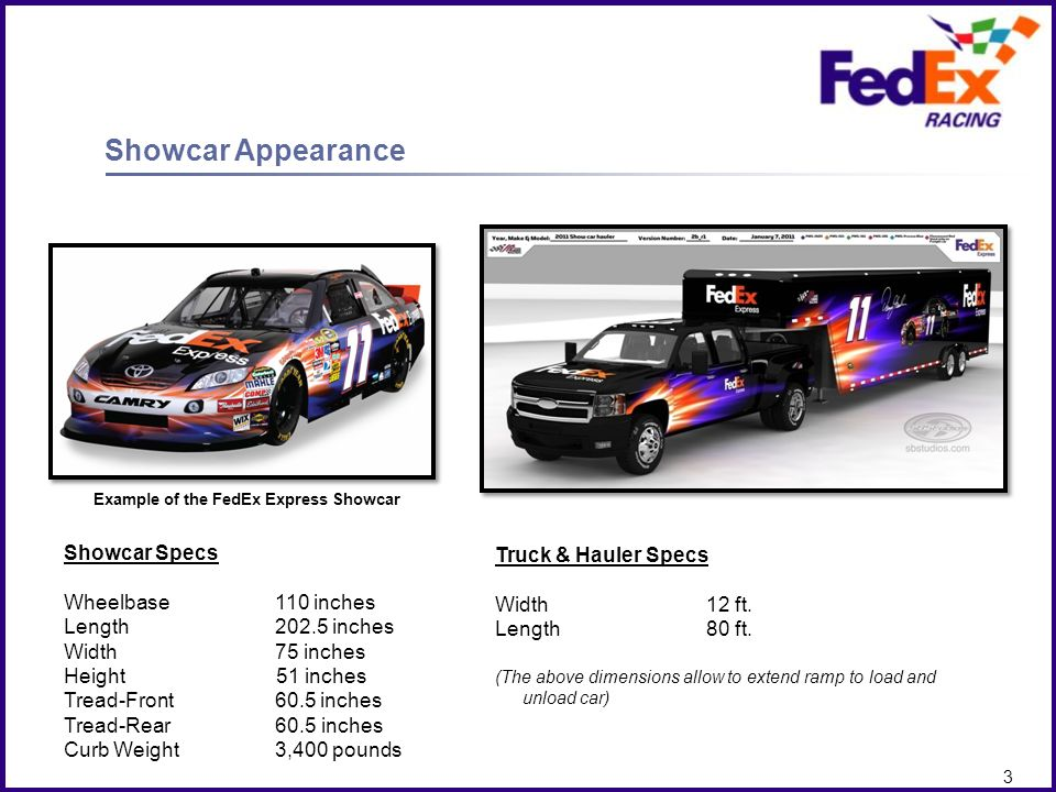 Client Logo here 2 Showcar Appearance What you receive Authentic #11 JGR FedEx Toyota Camry Showcar The #11 FedEx Showcar is an actual race car that i