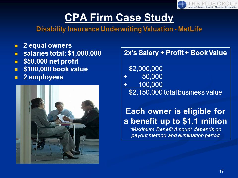 17 CPA Firm Case Study 2 equal owners salaries total: $1,000,000 $50,000 net profit $100,000 book value 2 employees 2xs Salary + Profit + Book Value $