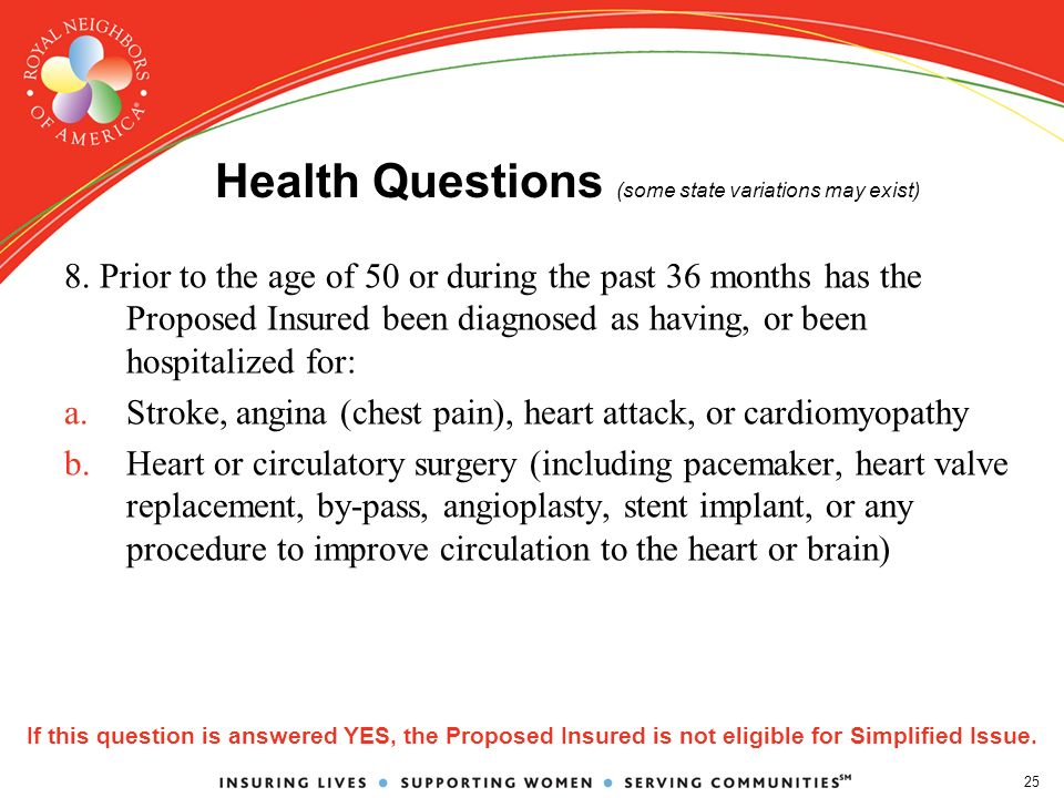 25 Health Questions (some state variations may exist) 8.