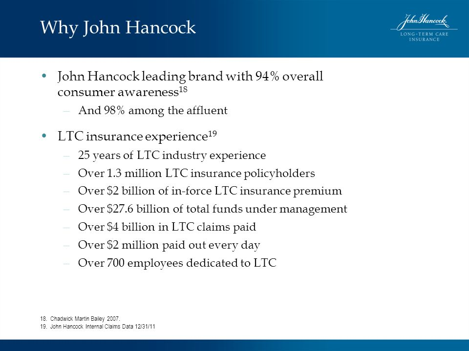 Why John Hancock John Hancock leading brand with 94% overall consumer awareness 18 – And 98% among the affluent LTC insurance experience 19 – 25 years