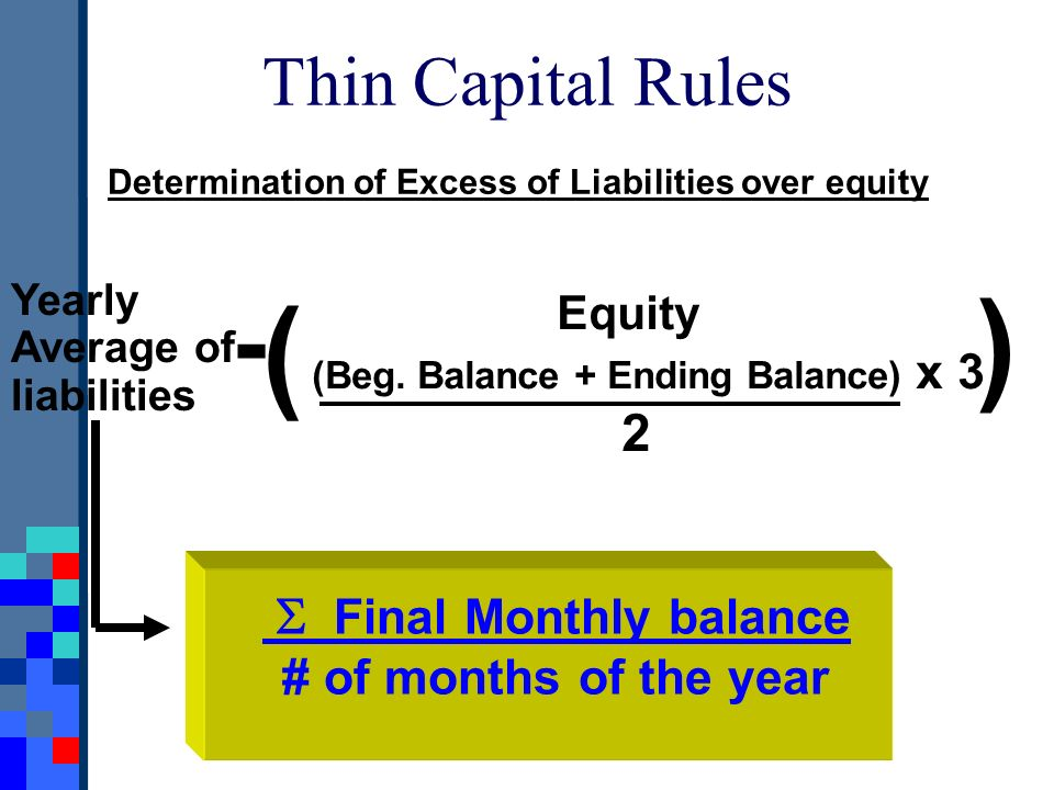 Thin Capital Rules Determination of Excess of Liabilities over equity Yearly Average of liabilities ( Equity (Beg. Balance + Ending Balance) x 3 2 ) -