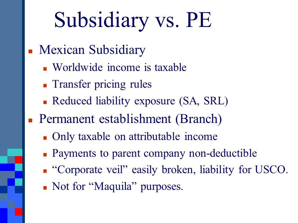 Subsidiary vs.