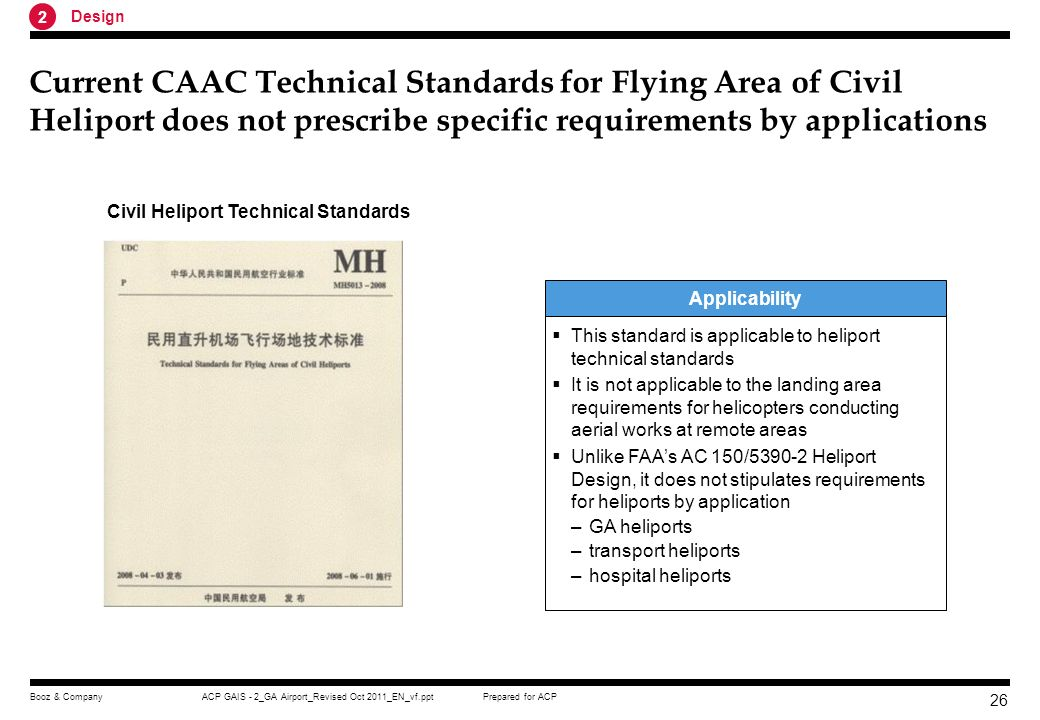 Prepared for ACPACP GAIS - 2_GA Airport_Revised Oct 2011_EN_vf.pptBooz & Company 25 The standard classifies GA airport into different types and set different requirements GA Airport for Fixed- Wing Aircrafts Heliports Permanent GA airport –Fixed, based and long-term Temporary GA airport –Seasonally or emergency Surface level Heliports –The heliport on the ground or water Elevated Heliports –The heliport on top of high buildings Helideck –The heliport on the offshore building Classification for GA Airports Main Requirements Main technical indicators of flight zone –Runway –Runway shoulder –Runway Strip –Taxiway –Parking Apron Visual air navigation aid –Indicator sign –Flight zone surface mark –Lights Fire fighting device Communication Navigation Equipment Meteorological Observation Equipments Auxiliary Equipments Source:Ground Equipment of General Aviation Aerodrome, Booz & Company analysis 2 Design
