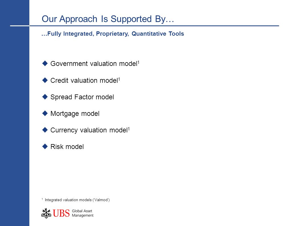 Seasoned judgement Incorporating shorter term factors Valuation model output Fair values at equilibrium Investment strategy setting Model portfolios The Application of Seasoned Judgement Valuation models allows us to calibrate the extent of market misvaluation Key inputs are clearly identified Cyclical and secular changes can be incorporated Provides a baseline for further consideration Seasoned judgement is key in the strategy setting process and overlays model output, taking into account: Views and judgements of the regional teams Market dynamics Likely catalysts for change.