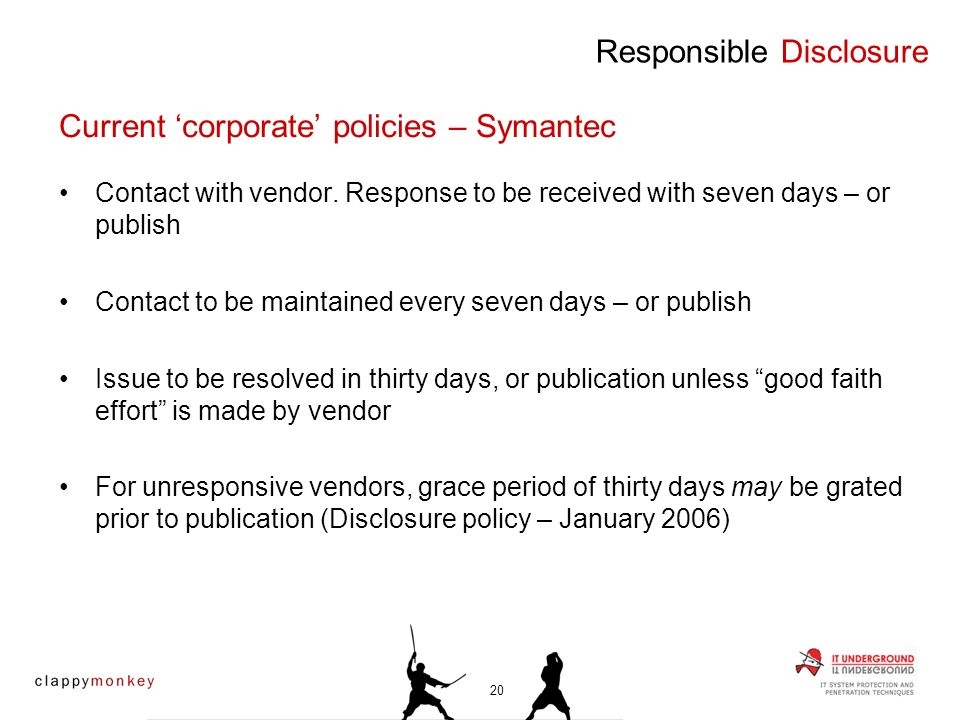 Contact with vendor. Response to be received with seven days – or publish Contact to be maintained every seven days – or publish Issue to be resolved