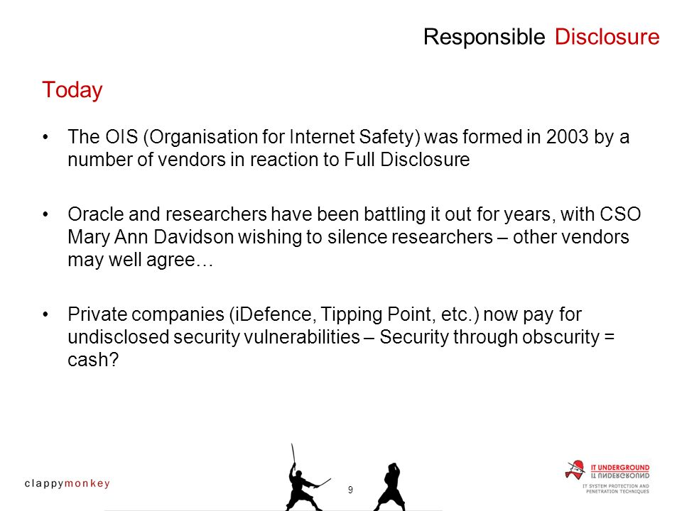 Full – Tell the world before the vendor Responsible – Tell the vendor before the world Profit driven – Tell a paying third party; hope they tell the vendor and the world Non – Tell no-one Responsible Disclosure Current Disclosure Practices 10