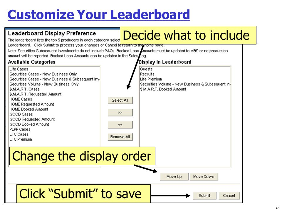 37 Customize Your Leaderboard Change the display order Decide what to include Click Submit to save