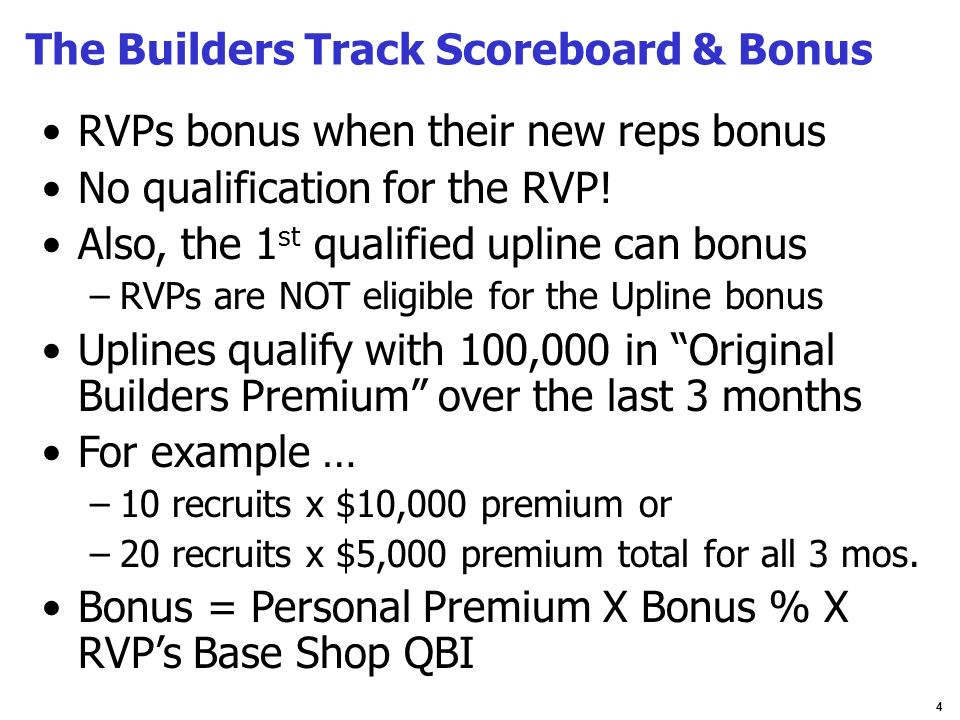 4 The Builders Track Scoreboard & Bonus RVPs bonus when their new reps bonus No qualification for the RVP! Also, the 1 st qualified upline can bonus –
