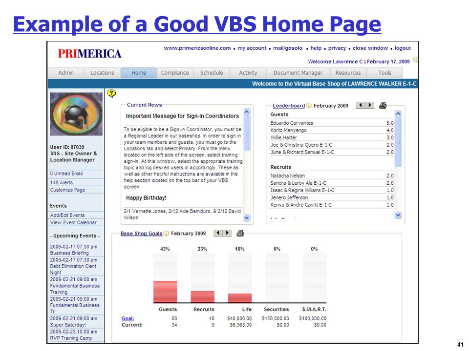 41 Example of a Good VBS Home Page