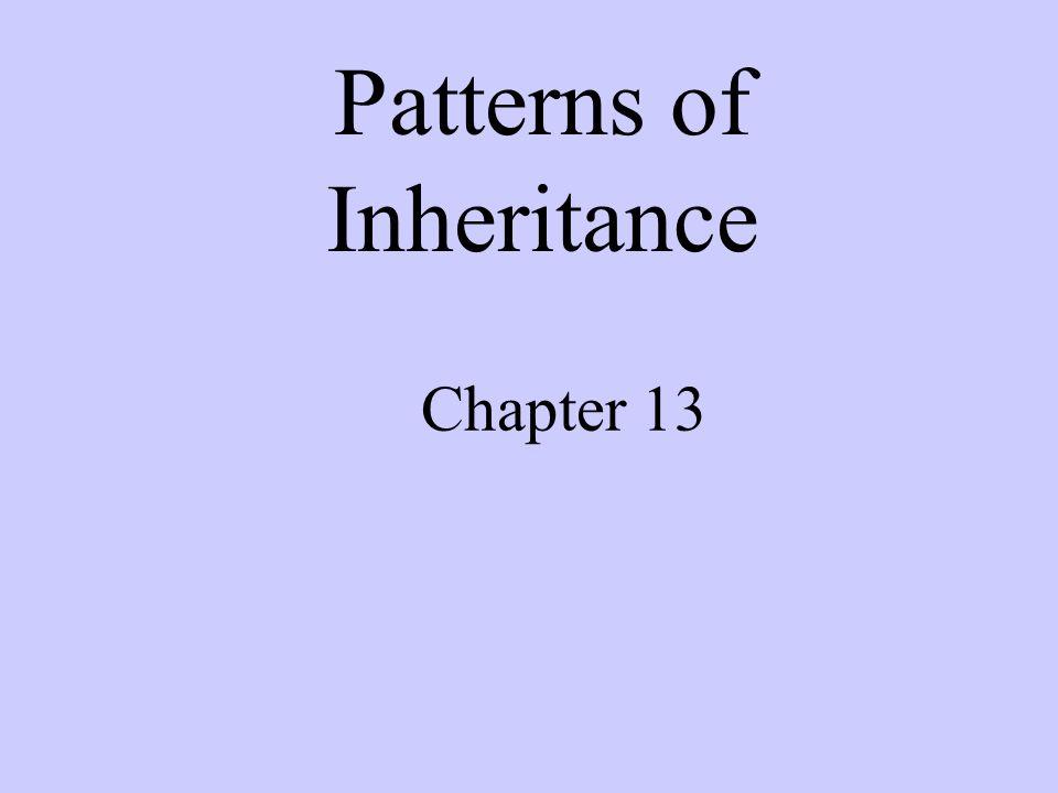 Chapter 13 Patterns of Inheritance