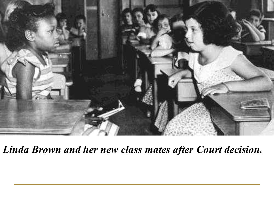 Linda Brown and her new class mates after Court decision.