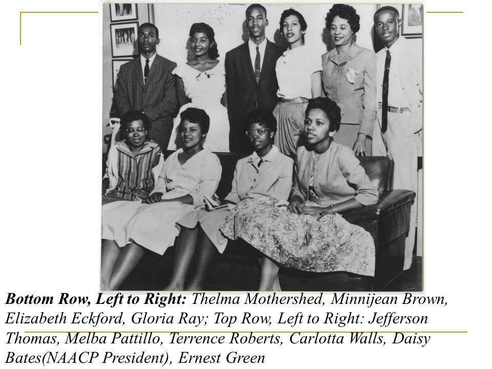 Bottom Row, Left to Right: Thelma Mothershed, Minnijean Brown, Elizabeth Eckford, Gloria Ray; Top Row, Left to Right: Jefferson Thomas, Melba Pattillo
