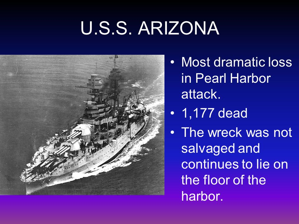 U.S.S. ARIZONA Most dramatic loss in Pearl Harbor attack.