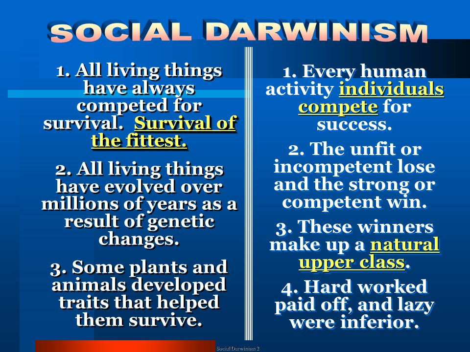 Social Darwinism Social Darwinists believed that companies struggled for survival in the economic world and the government should not tamper with this natural process.