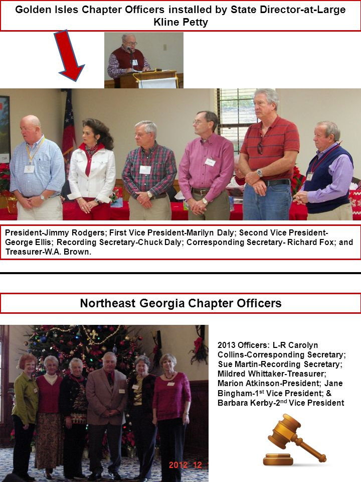 Augusta Chapter Officers installed by State Director-at-Large Sonny Medlin Pictured (left to right) Sonny Medlin, State Director-at-Large; President, Valerie Marshall; 1 st Vice President, Charles Cason; 2 nd Vice President, Joel Lynn; Corresponding Secretary, Carolyn Amerson; Treasurer, Harold Smith (not pictured: Recording Secretary Jann Perry) Statesboro Chapter Officers installed by State 1 st VP Alice Claxton Pictured (left to right) Alice Claxton-State 1 st Vice President; President, Mary Alice Woodrum; Lois Harper standing in for 1 st Vice President, Robert Keel; 2 nd Vice President, Verna Bennett; Corresponding Secretary, Gail Cannady; Recording Secretary, Kay Holland; Treasurer, Bettye Harper.
